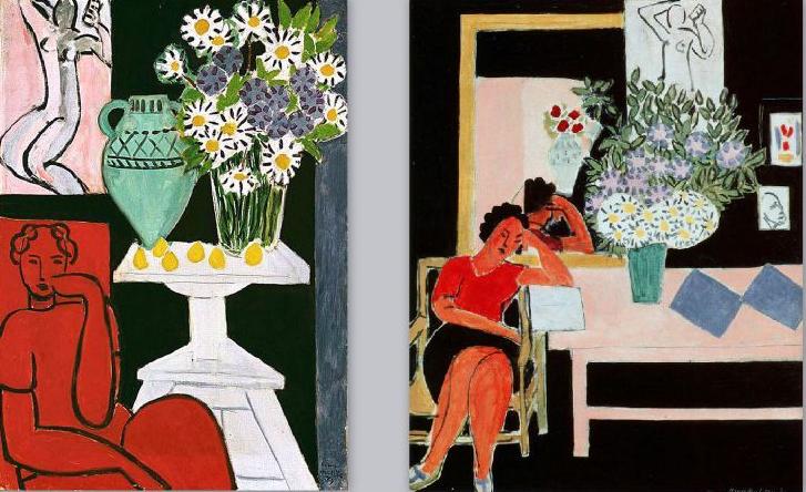 Henri Matisse. Les marquerites, 1939. Liseuse sur fond noir, 1939