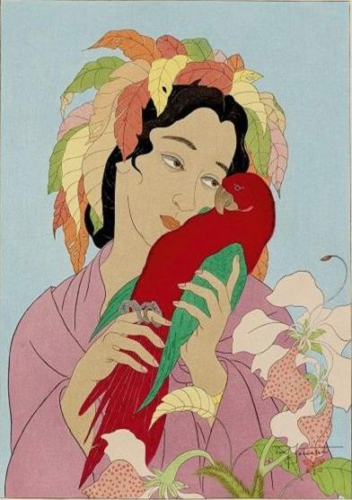 Paul JAcoulet, Chagrin d'amour, 1940, gravure sur bois