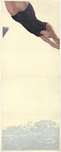 1. Onchi Koshiro (1890-1955) le plongeon, 1932, gravure sur bois,79, x 31, cm. Coll. Elise Wessels