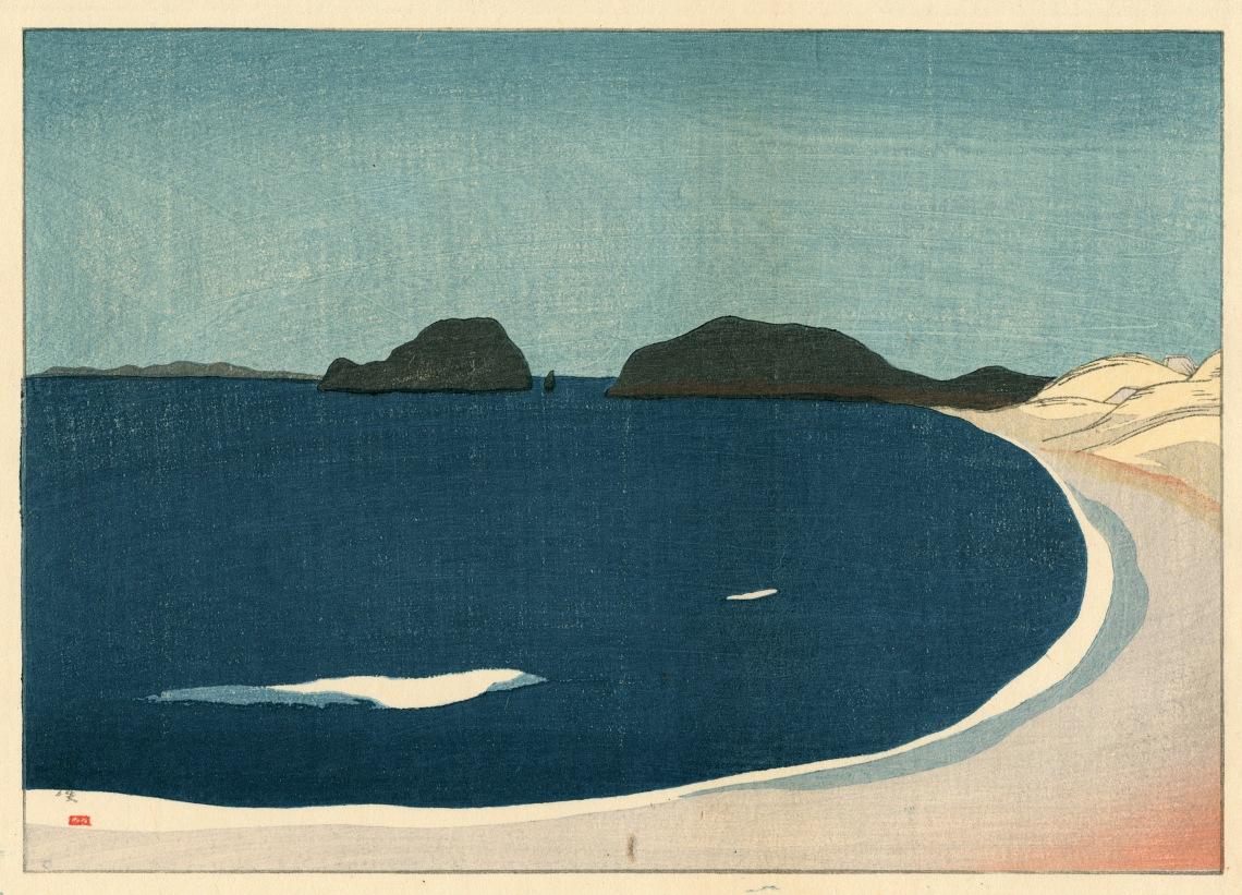 3. Sakamoto Hanjiro (1882-1969) Vue du port de Kami Genkainada, 1918, gravure sur bois, 18,1 x 25 cm. Coll. Elise Wessels.