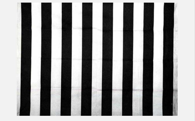 DAniel Buren, peinture acrylique balnche sur tissu rayé blanc et rouge, 1967