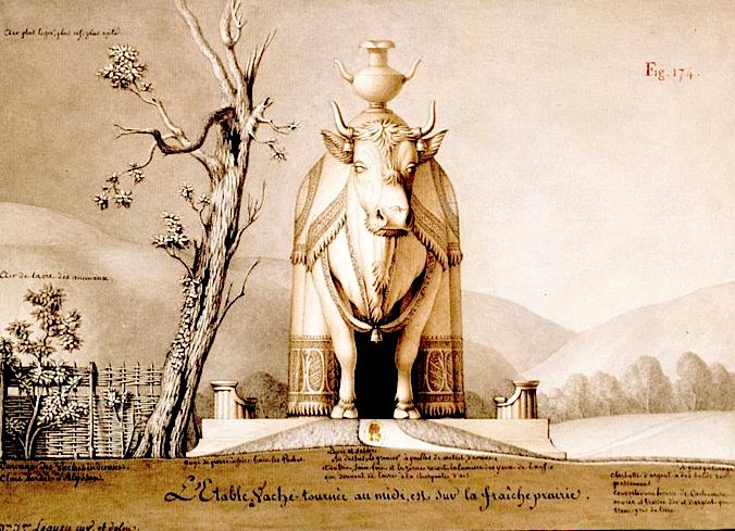 Jean-Jacques Lequeu, 1777-1814, Etable en forme de vache