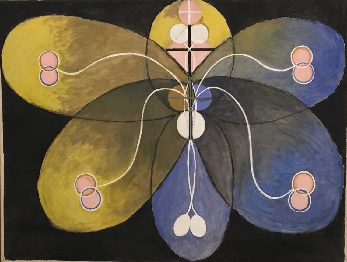 2. Hilma af Klint Grupp VI Evolutionen.N°9, 1908 The seven-Ppointed Star series, oil on canvas 101 x 131,5 cm