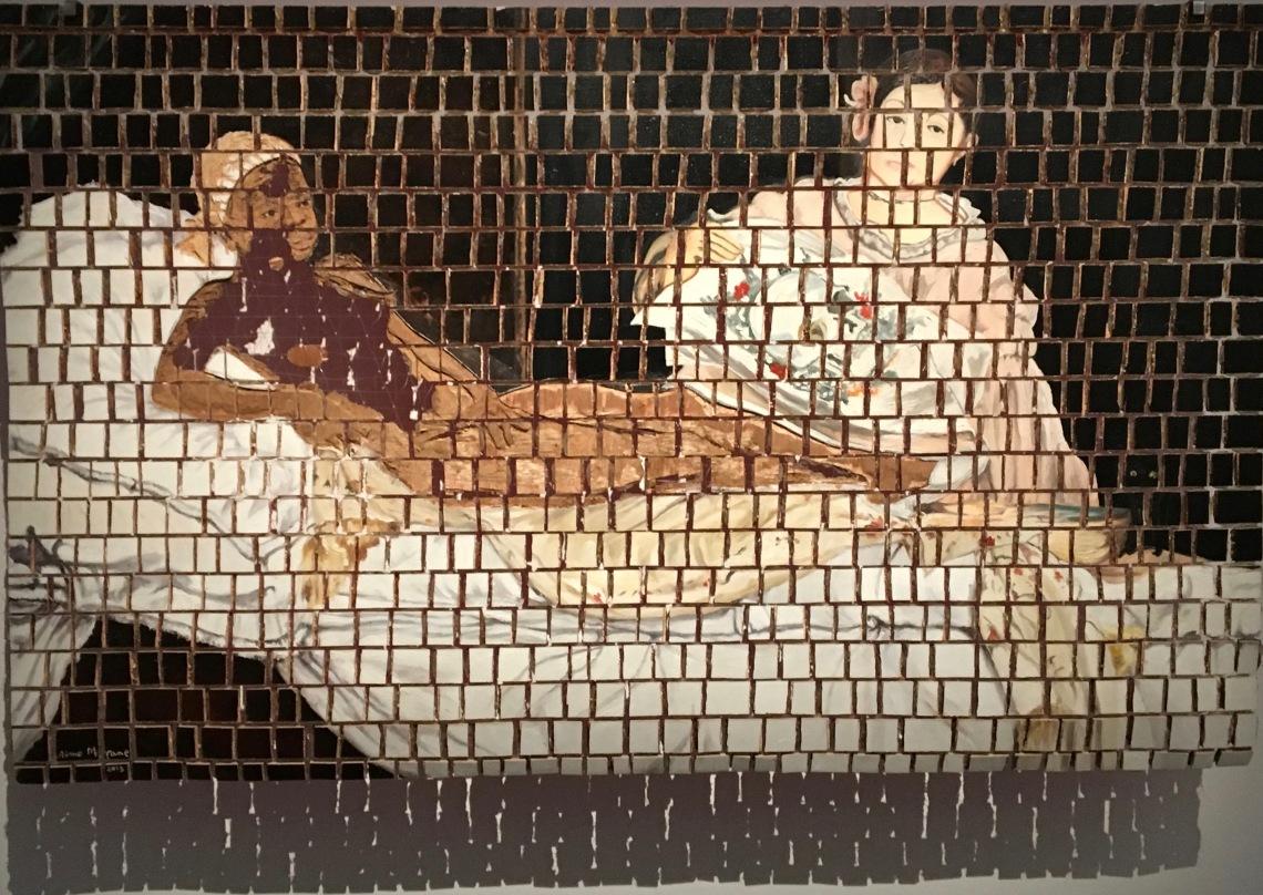 6. Aimé Mpane, Olympia II, 2013, peinture sur pièces de contreplaqué. Collection Gérard Valérius