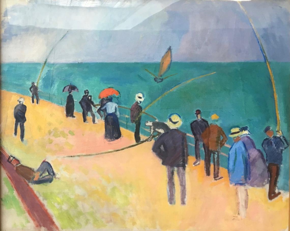 Raoul Dufy Les pêcheurs à la ligne sur la digue nord du Havre. 1907. Huile sur toile. Coll. particulière