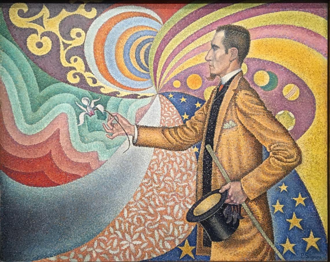 1. Paul Signac, opus 217. Sur l'émail d'un fond rythmique de mesures et d'angles, de tons et de teintes, portait de M. Félix Féneon en 1890